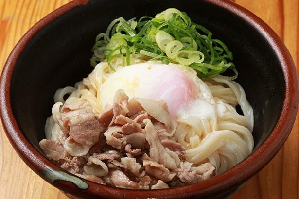 うどん研究所 麺喰道 / 「温玉豚塩うどん」(写真は冷)。シンプルな食べ方ながら、しっかりと満腹感を得られるコスパな一杯