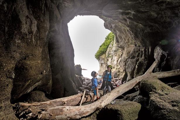 島には約150mの3本の洞窟が/九龍島