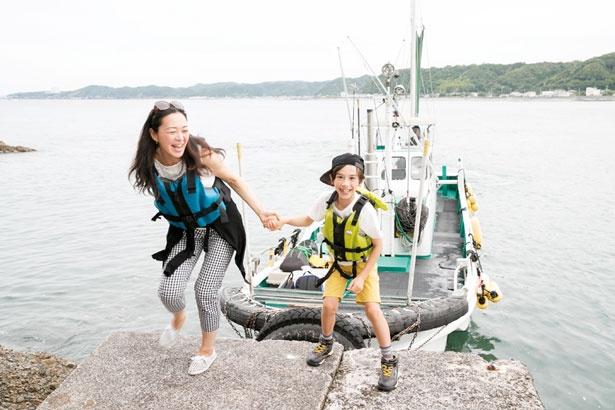 古座港から5分ほどで島に到着/九龍島