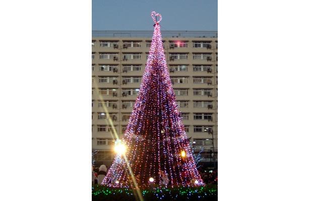 竹ノ塚東口駅前に登場したビッグ・クリスマスツリー