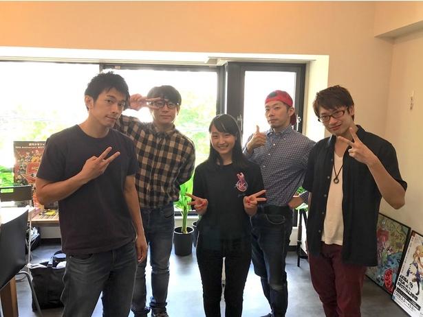 (写真左から)村岡太平(A+DF)、ムラトミ(RAB)、Ringo Winbee、DRAGON(RAB)、勝村友紀(A+DF)
