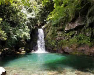 落差12mで力強い水流の「轟の滝」。滝壺の水も透明度が高い