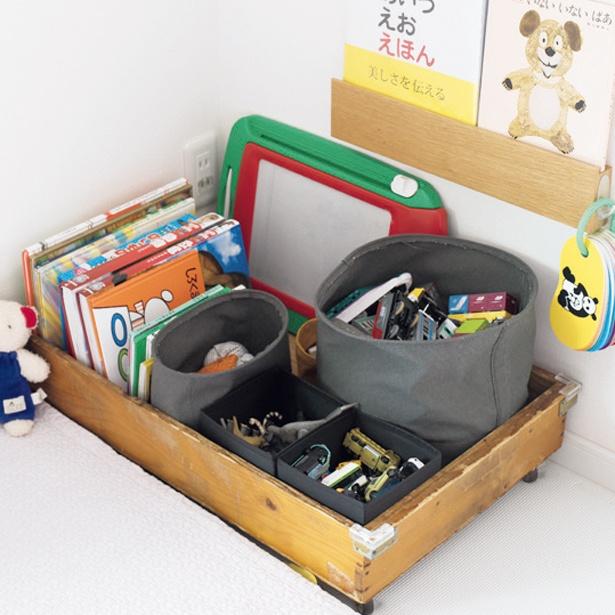 """リビングに置くおもちゃは絵本は、1箱分と""""定量""""と""""定位置""""を決めて"""