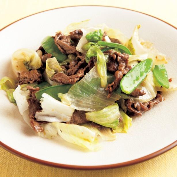 生レタスの食感をいかした「レタスと牛肉のオイスター炒め」