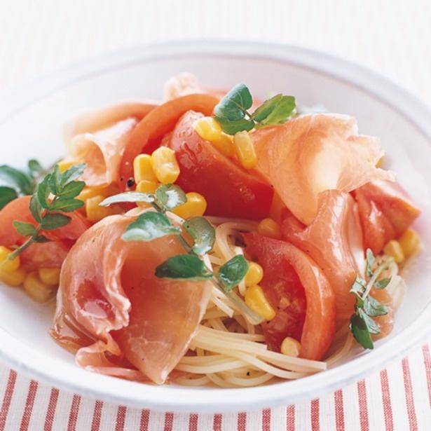 「トマトと生ハムの冷たいパスタ」