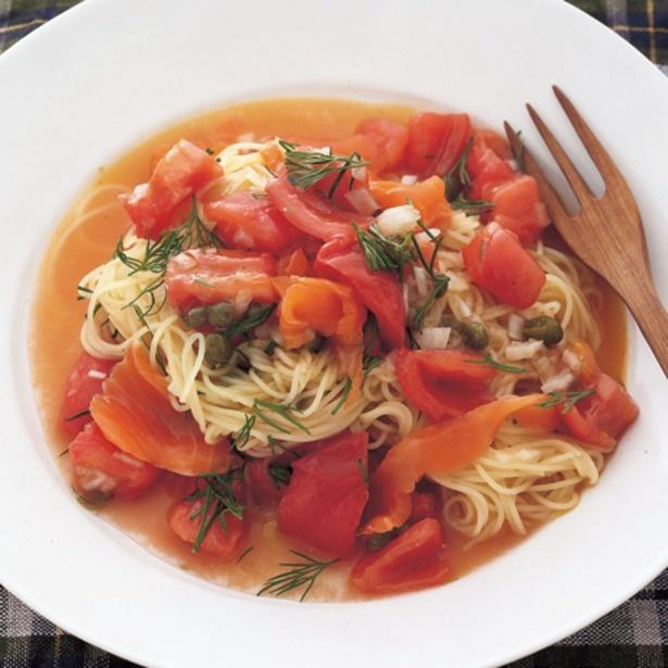 「サーモンとトマトの冷製パスタ」