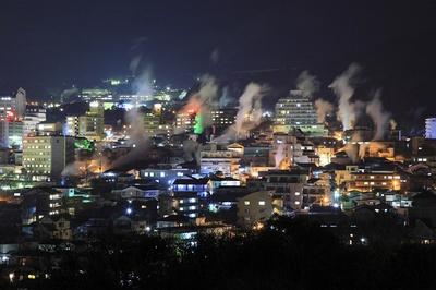 【写真を見る】扇山や鶴見岳を背景に湯けむりと温泉街の明かりが際立つ