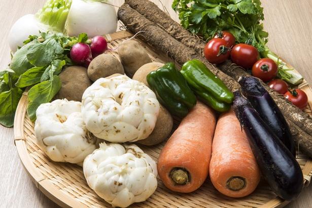 自家農園のものを中心に、豊富な野菜たちが料理の主役