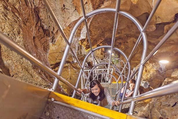 ハシゴのような急階段で地下25mの最深部へ向かおう/質志鐘乳洞