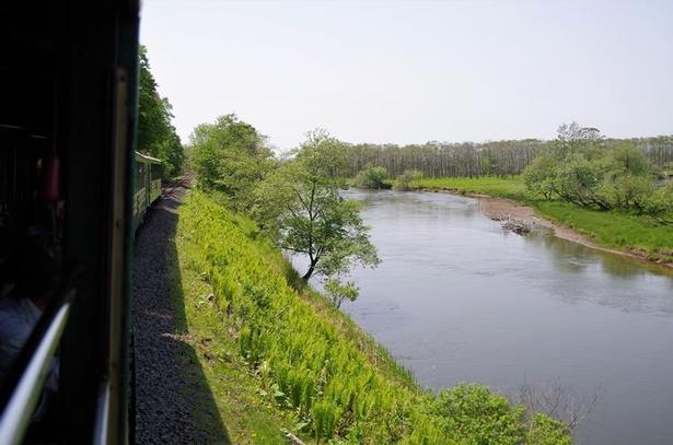 湿原を蛇行して悠々と流れる釧路川の畔まで線路が寄り添う