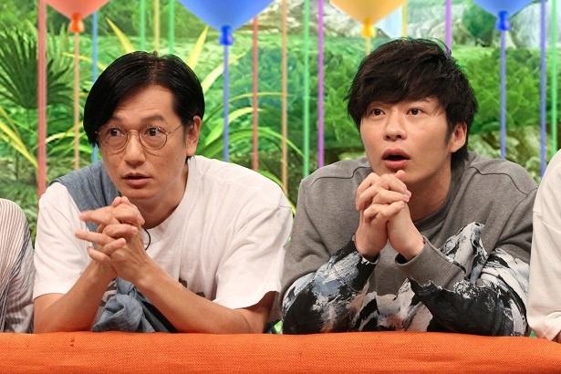 井浦新(左)と田中圭(右)。クイズ正解は神頼み?