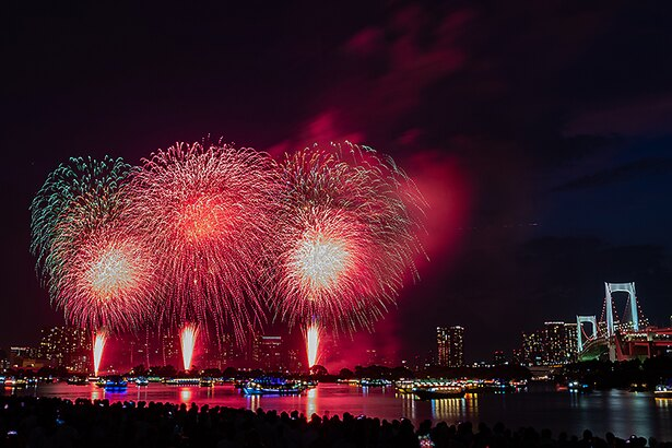 東京の夜景をバックに花火が打ち上がる
