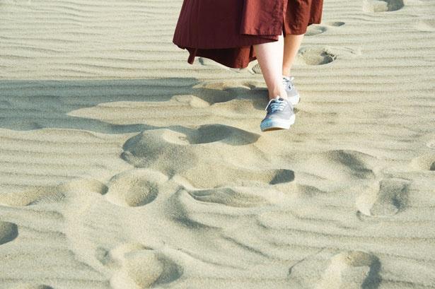 サラサラの乾燥した砂はすぐに洗い流せる/鳥取砂丘