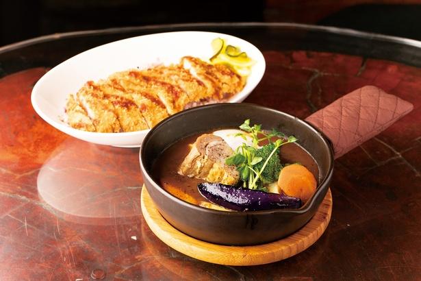 心(cocoro)スペシャル(1,700円)。基本の野菜5種、角煮、カツが一同に。和風のルウが舌に馴染む味わい