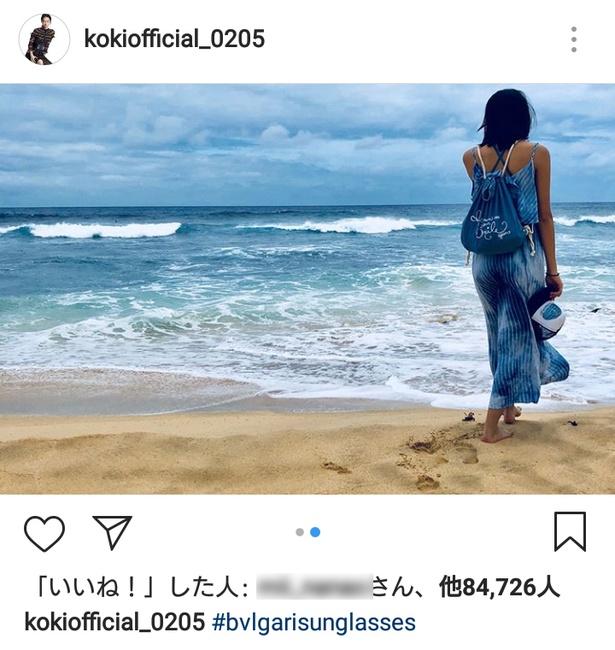 Koki, ビーチで健康的な水着姿初披露「なんてスタイルいいの!」