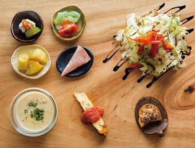 ヒシミツ / 前菜には添田町で作られた食材が使われ、日替りで6品が味わえる