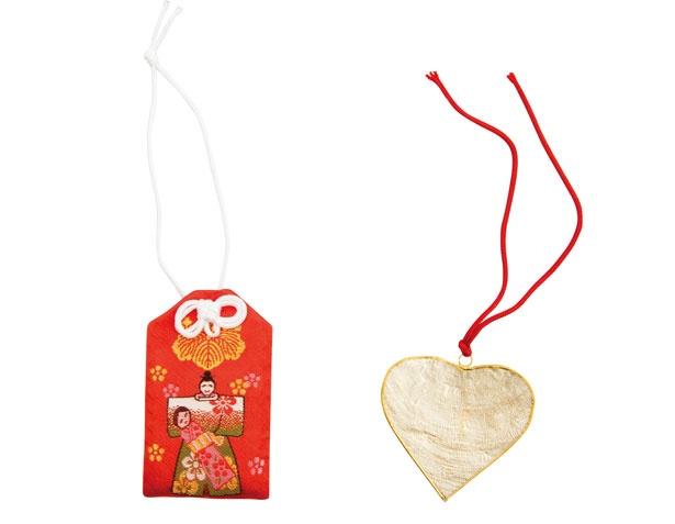 袋守り(800円、左)、ハート絵馬(500円、右)/淡嶋神社