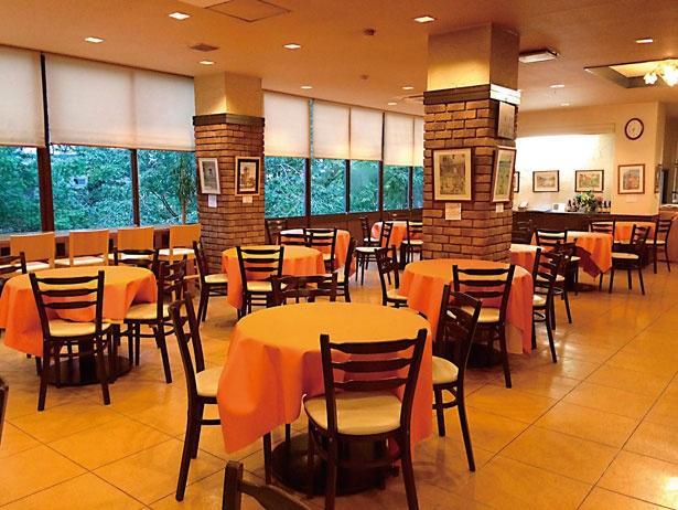 ゆったりと落ち着いた雰囲気が漂う、高尾山ふもとやの店内。テラス席も8席ある