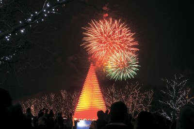 冬花火も幻想的〜国営昭和記念公園