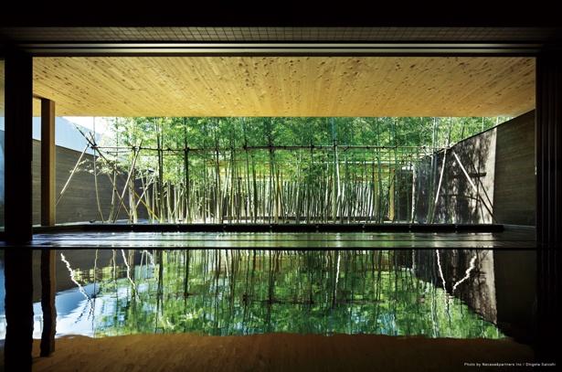 竹林の茂る露天風呂は、自然由来のアルカリ性源泉で「美人の湯」といわれている