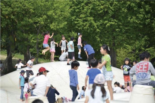 国営昭和記念公園にある、こどもの森。日本最大級の巨大トランポリンなど、さまざまな仕掛けが子ども心をくすぐる