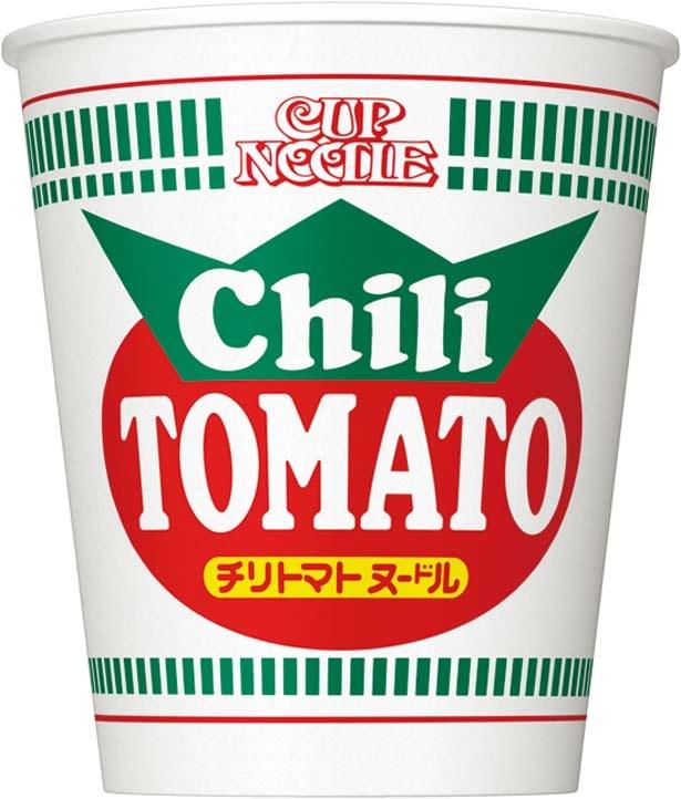 「カップヌードル チリトマト」(194円、76g/麺60g、354kcal、食塩相当量4.0g)