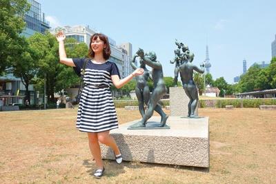 久屋大通公園は、エンゼル広場やもちの木広場など、エリアによって名称がある。写真のセントラルパークは裸像が多数