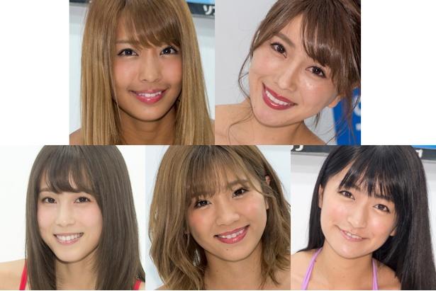 左上から橋本梨菜、森咲智美、左下から犬童美乃梨、葉月あや、☆HOSHINO