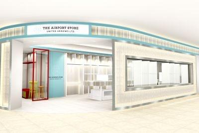 「THE AIRPORT STORE UNITED ARROWS LTD. NARITA AIRPORT TERMINAL2」白を基調としたシンプルなモダンスタイルの店内
