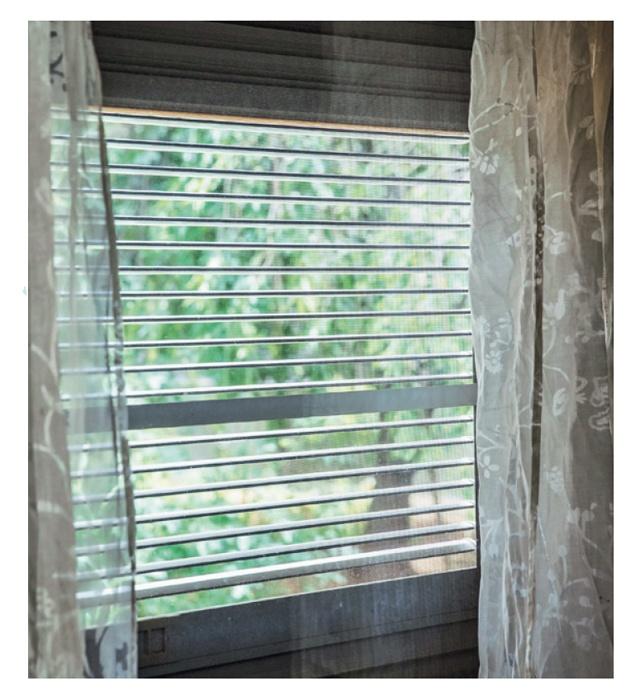 【写真を見る】ルーバーつきの通風雨戸で室内に入る光を調整