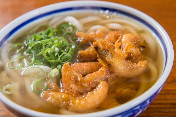 エビのダシと風味がスープに溶け出した「小えび天うどん」(450円)