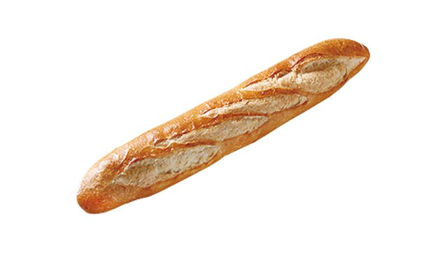 「パン工房 Moomo」の「バゲット」(250円)。糸島産の天然海塩「またいちの塩」を使用。外はパリッ、中はふっくらしている