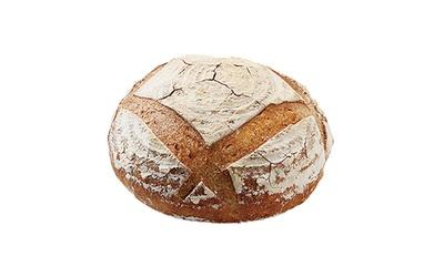 「自家製酵母パン のたり」の「ライ麦カンパーニュ」(500円)。九州産小麦とオーガニックのライ麦をミックス。噛むほどに甘さが出る