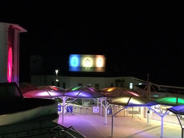 夜の水族館の様子