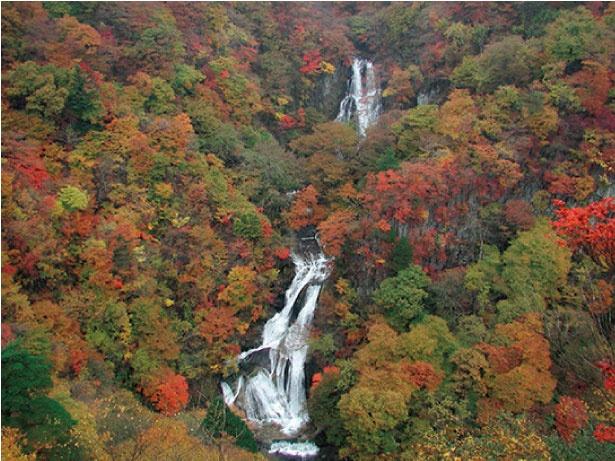 霧降ノ滝は上段が25メートル、下段が26メートルという二段構造になっている