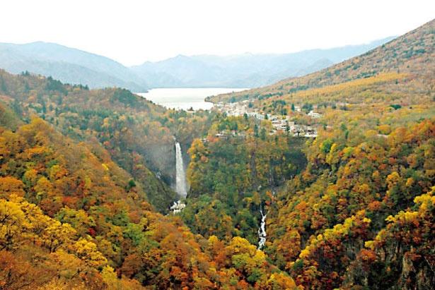 圧倒的な迫力を誇る華厳ノ滝。中禅寺湖の水が、高さ97メートルの岸壁を一気に落ちる様は圧巻