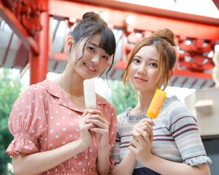 SKE48の北川綾巴と中野愛理が大須の最新アイスをレポート!
