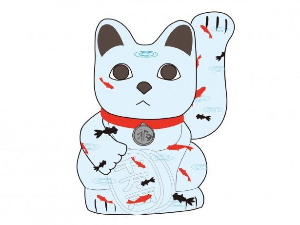 奈良らしさがあふれる「招き猫」が三条通りで来場者を迎える。キュートでユーモアのある作品に癒される