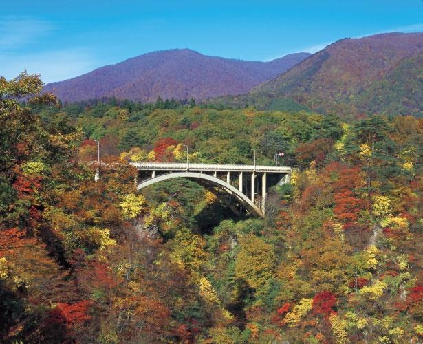 鳴子峡は展望台からの眺めだけでなく、渓谷にかかる大谷橋からの眺望も人気だ