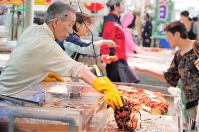 新鮮な海産物がいっぱい!活気があって見ているだけでも楽しくなります