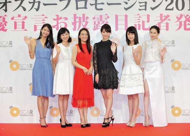 登壇した田中道子、菊川怜、岡田結実、宮本茉由、玉田志織、河北麻友子(写真左から)