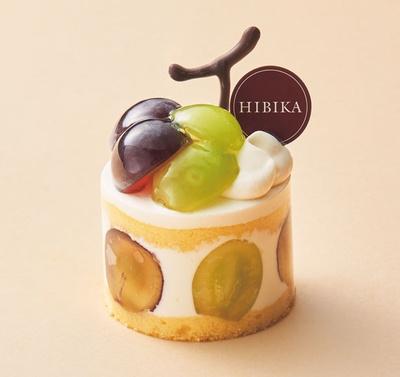 秋葡萄(700円)。みずみずしい旬のブドウを飾った秋限定のショートケーキ/HIBIKA