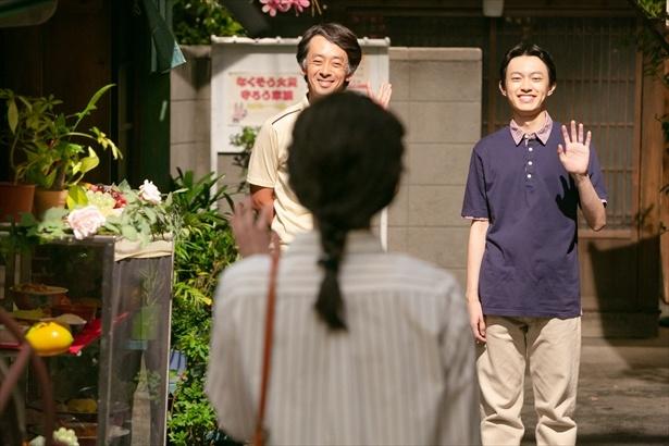 第143回(9月13日)シーンより。宇太郎・草太と別れ、東京に戻る鈴愛