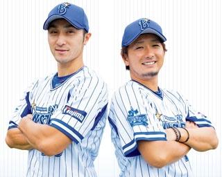 シーズン途中で移籍してきた伊藤選手(左)と、今季は中継ぎとして活躍する三嶋選手