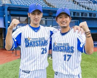経験豊富な打てる捕手、伊藤選手と、リリーフ専任で剛球が復活した三嶋選手。力強くガッツポーズ!