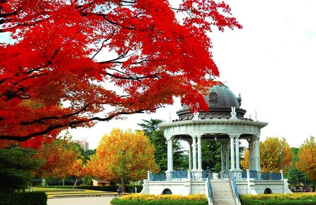 朱色に染まる鶴舞公園(@tsuruma_park)の「奏楽堂」など、自分好みの秋スポットを撮影しよう