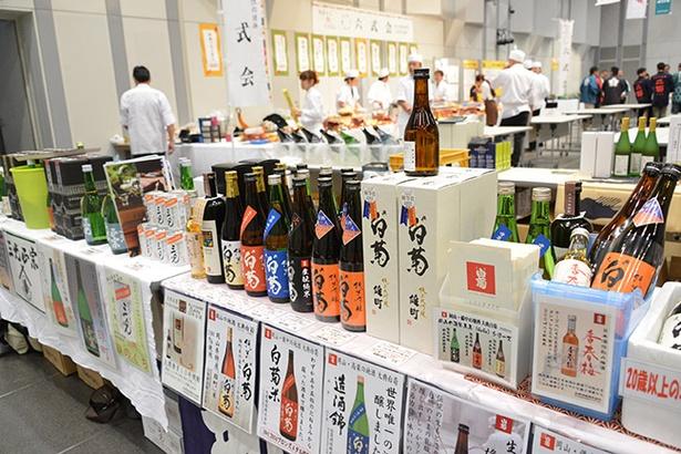 岡山の地酒や雄町がずらりと並ぶ