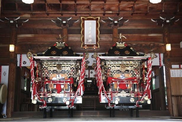 華麗で繊細な神輿の姿は、威勢のよい曳山と好対照をなす