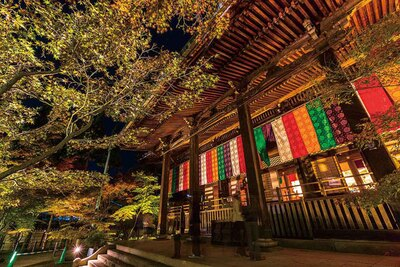1912(大正元)年に造営された総ケヤキ造りの仏堂、御影堂。浄土宗の開祖・法然上人を祀っている。勇壮な建築物と紅葉が幻想的な光景を作る