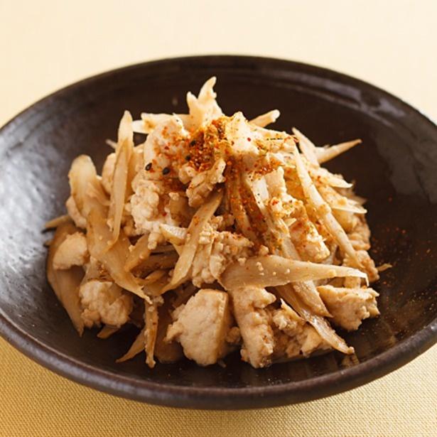豆腐とごぼうでヘルシーに仕上がった「ごぼう入り炒り豆腐」